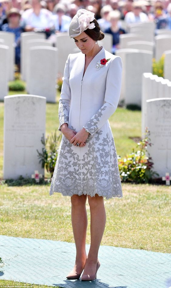 Honouring: The Duchess stood in silence for a moment as she honoured the memories of the thousands of Commonwealth soldiers killed in battle