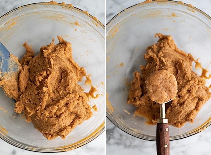 две фотографии, показывающие, как приготовить печенье с арахисовым маслом без глютена