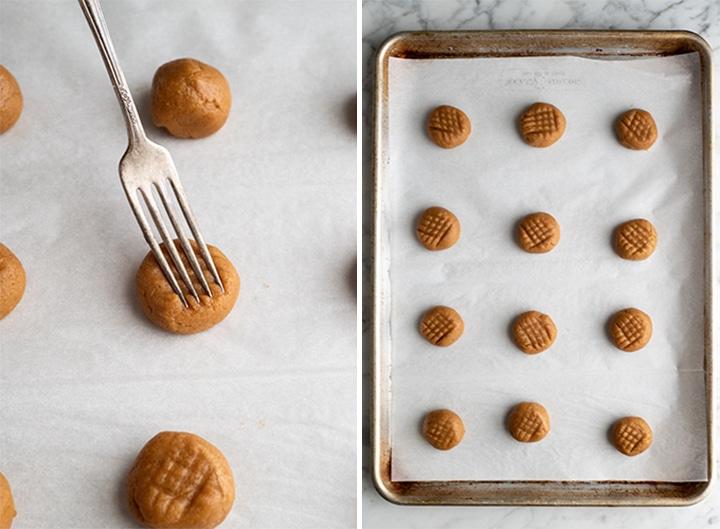 две фотографии, показывающие, как приготовить печенье с арахисовым маслом без муки