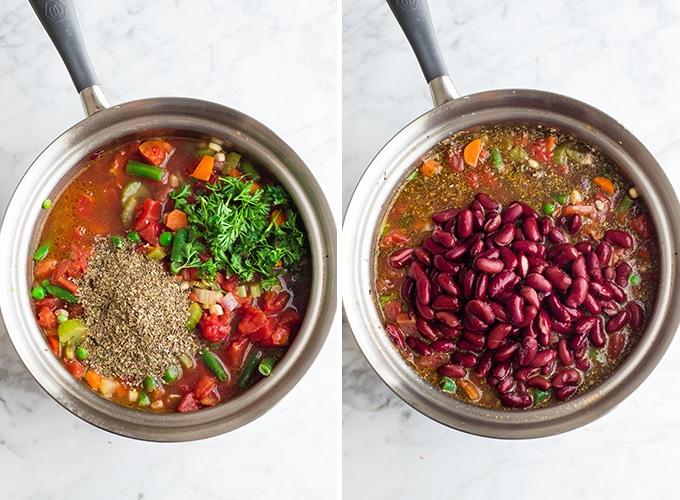 две накладные фотографии, показывающие, как приготовить овощной суп
